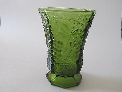 Anchor Hocking Avocado Green Footed Vase With Grapes Vines Leaves