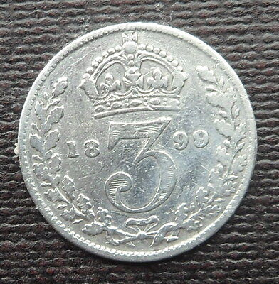 1899 Solid Silver Threepence Piece - Queen Victoria Veiled Head