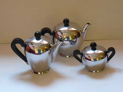 DESIGN 50s CARLO ALESSI x ALFRA SET BOMBE' THE CAFFE' ZUCCHERIERA COFFE TEAPOT