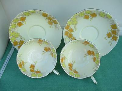 Pair of Pretty Vintage Grafton BONE CHINA Cup & saucer - Dundee Pattern - VGC