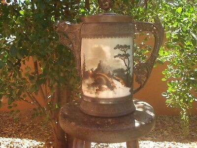 Aesthetic Movement, Simpson, Hall and Miller Large Hand Painted Glass Pitcher