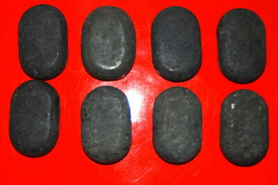 Set of 8 Medium Lava Basalt Oval Hot Massage Stones  6 x 4 x 2 cm