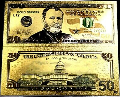 99.9% 24K Gold $50 Bill Us Banknote In Protective Sleeve Free Shipping