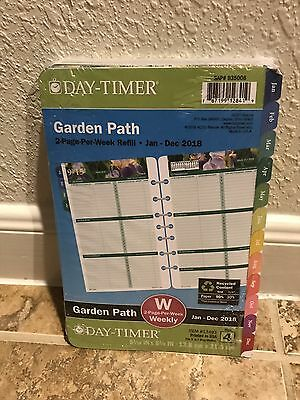 Day-Timer Garden Path 2018 Planner Refill 2 Page Per Week Size 4 Pink Floral New