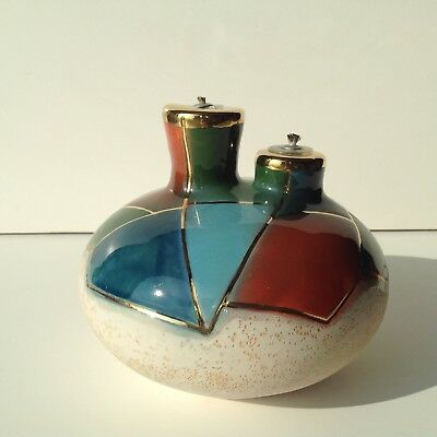 Hand Made Ceramic Oil Lamp Multi Color Two Burners Signed Mary Latte Ryan Euc