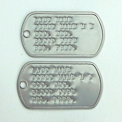 2 Personalized U.S.G.I. Dog Tags, Stainless Steel,G.I. No Chains,USA, WWII,VN,KO