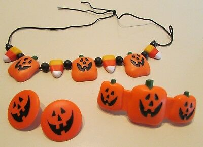 Halloween Jack-O-Lantern jewelry collection earrings necklace hairclip Hallmark