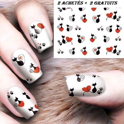❤️nouveau Stickers Chats Bijoux Pour Ongles Water Decals Stickers Nail Art