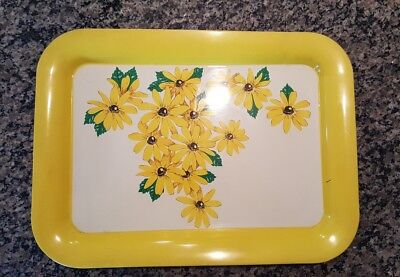 Vintage Metal Tin Serving Tray Sunflower Yellow White Green Floral 1960 - 70's