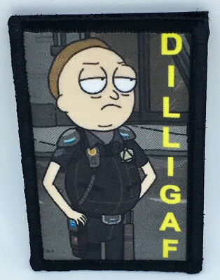 Rick and Morty DILLIGAF Morale Patch Tactical Military Army Flag USA