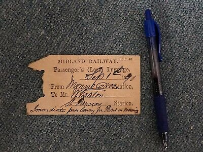 Vintage Ephemera Midland Railway Paris Luggage Tag English Railroad History