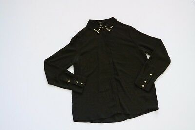 674262d2fd0 Forever 21 Medium black button down shirt blouse with gold studded collar