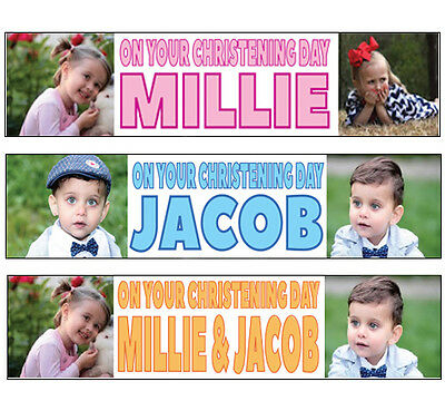 2x Personalised Photo banners all Occasions Christening birthday party name 1c