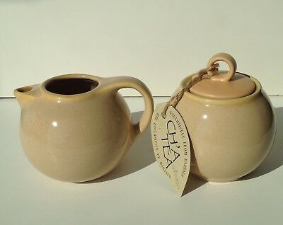 Vintage Danesco Ch'a Tea Tan Creamer  And Covered Sugar Bowl Set New With Tag