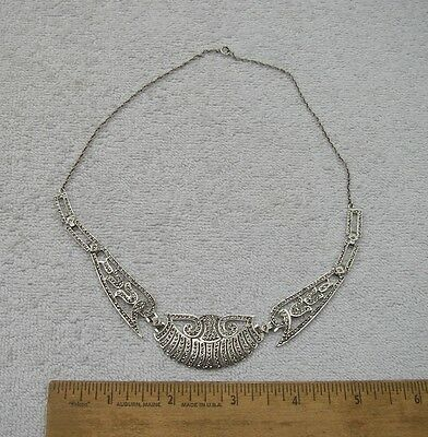Fine ART DECO Style STERLING & MARCASITE NECKLACE-17.5 Inch-NR