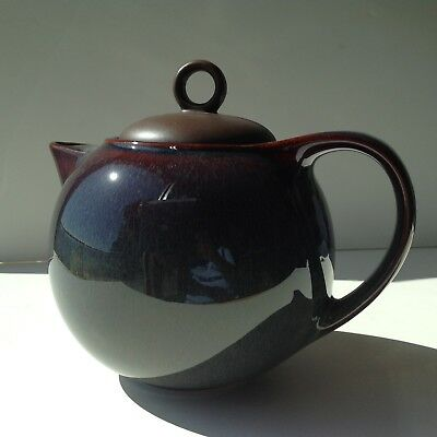 Vintage Danesco Ch'a Tea Teapot New - Brown-Blue Glaze - Box Has Shelf Wear