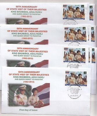 PAKISTAN Thailand Lot of 10 FDC Anvs. of State Visit of King Bhumibol Very rare