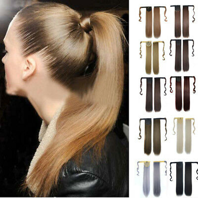 New Fashion Clip In Human Hair Extension Straight Ponytail Wrap Around Ponytail