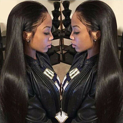 """26"""" Black Natural Long Straight Human Wigs Full Lace Front Wig With Baby Hair"""