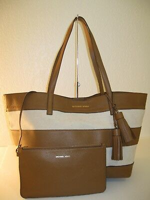 0973ce8752a9 MICHAEL Michael Kors Brown Natural Striped Large East West Tote Bag $298