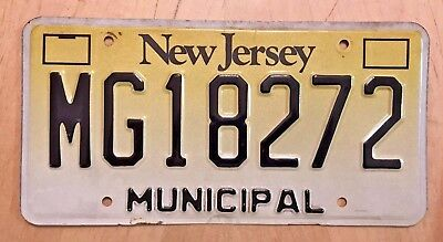 "Rare Garden State  City Type   Municipal License Plate "" Mg 18272 "" Cop Car"