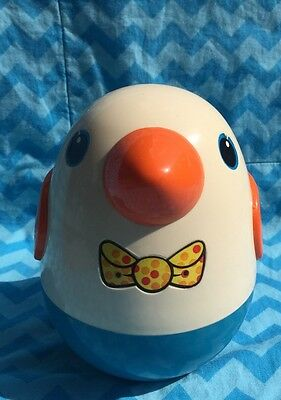 Vintage Roly Poly Chime Bird Weeble Wobble Chick Playskool Made In Macau
