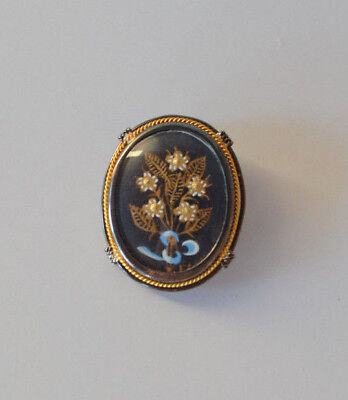 Antique signed painted flower bouquet oval cameo brooch pin pendant gold silver