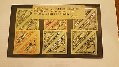 Liberia  C3A-F Compete series in fine hinged imperf pairs ??? See details RARE