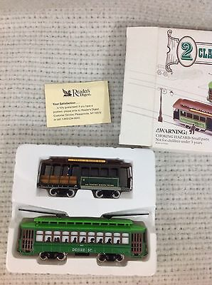 2 HO-Scale Classic Streetcars Powell & Mason Cable Car & Desire St. Trolleys NIB