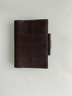 Authentic Hermes  Brown Lizard Petit Modele Agenda
