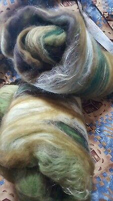 "wool batts ""MARK DOWN WAS $21.00""merino silk tussah 118gr spinning felting craft"