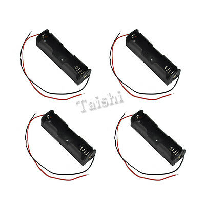 NEW 4pcs Plastic Battery Holder Storage Box for 1x 18650 Battery with Wire Leads