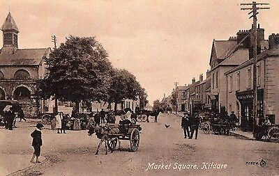 MARKET SQUARE KILDARE IRELAND VALENTINES IRISH POSTCARD No. 72554