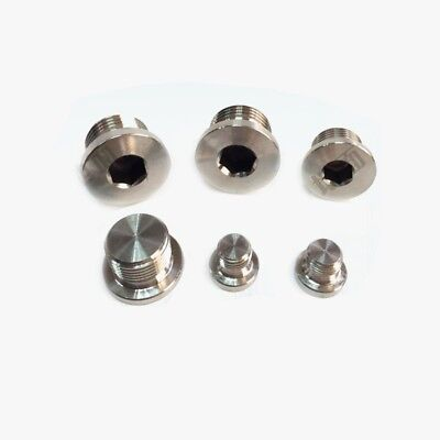 """1/8""""-1"""" BSP Male SS304 Countersunk End Plug With Flange Internal Hex Head Socket"""