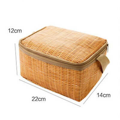 Imitation rattan woven Thick waterproof insulated lunch bag Bento box Hot sale