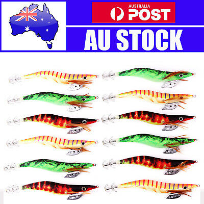 12pcs 3.5 Assorted Body Squid Jigs Jig Fishing Tackle lures Bait Hooks Size #3.5