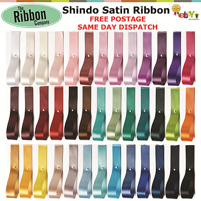 DOUBLE SIDED SATIN RIBBON SHINDO - 25m/50m REEL- 6mm, 10mm, 15mm, 25mm & 38mm