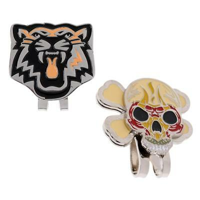 2 Pieces Tiger Skull Magnetic Hat Clip Golf Ball Marker Clip On Cap Visor