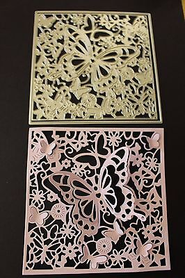 Detailed Square Background Butterflies x 2 pcs Metal Die Brand New