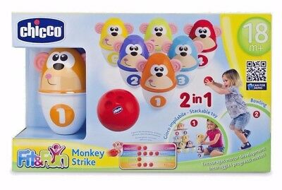 Chicco Monkey Strike Bowling Game For Young Kids 18 Months + Free Uk Delivery!