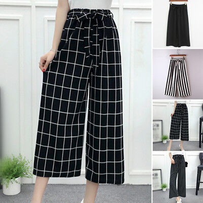 Women Ladies Wide Leg High Elastic Waist Casual Pants Loose Culottes Trousers