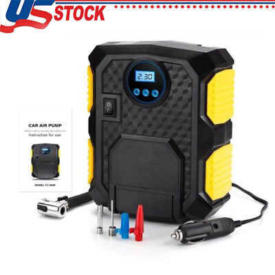 Portable Digital Tire Inflator DC 12V 120W Car Electric Air Compressor Pump US