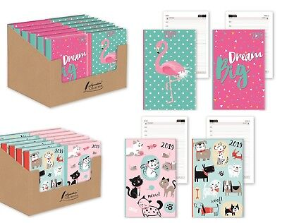 2018 Diary Chunky A6 Day Per Page To View Elastic Closure Diary Owl,Flower,Puppy
