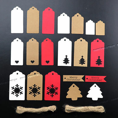 25/50/100 Christmas Kraft Paper Gift Tags Scallop Label Luggage Blank + Strings