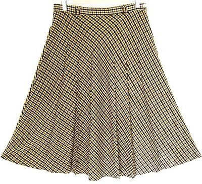 Vintage 1970s Camel Brown Checked Pleated Skirt 10