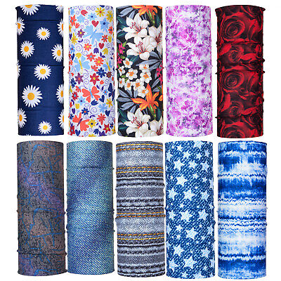 Floral Print Women Scarf Neck Tube Warmer Bandana Gym Biker Balaclava Snood Mask