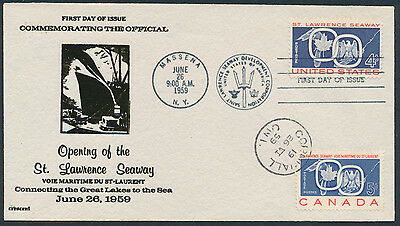 1959 #387 St Lawrence Seaway Dual USA/Canada FDC, Black Crescent Cachet