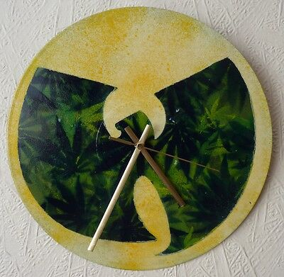 WU-TANG CLAN inspired record wall clock...spray paint...art..rappers