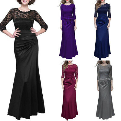 Long Lace Evening Formal Ball Gown Party Cocktail Prom Dress Bridesmaid Dresses