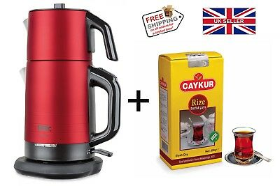Turkish Electric Tea Maker Stainless Steel Machine Kettle Caydanlik Teapot RED